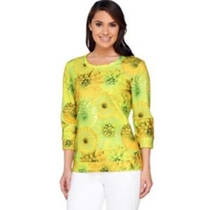 ISAAC MIZRAHI LIVE Sunflowers quilted Blouse